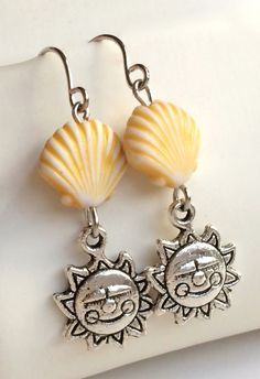 Silver Plated Shell Earrings Yellow Sun Pierced Sea Life Beach Island Dangle USA #Unbranded #DropDangle