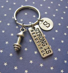 strong is beautiful keychain with initial charm by juliethefish