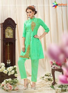 MARVELOUS LIME GREEN BANARASI SILK KURTI