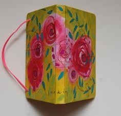 ¨ del jardín ¨, libreta pintada a mano, acrílico sobre tela, papel libre de ácido, 11.5 x 16 cms, único ejemplar.  Ana Milena Gómez 2017.