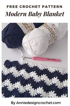 A Free pattern for a Nautical Crochet Baby Blanket in a simple and fresh colour combination of Navy and White. Lovely texture and a soft cotton yarn. Crochet Afghans, Crochet Baby Blanket Free Pattern, Crochet Baby Cardigan, Crochet Motifs, Afghan Crochet Patterns, Free Crochet, Crochet Hats, Crochet Blanket Stitches, Simple Crochet Blanket