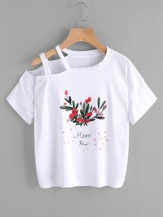 Floral Print Cut Out Shoulder Tee Crop Top Outfits, Cute Casual Outfits, Pretty Outfits, Stylish Outfits, Girls Fashion Clothes, Teen Fashion Outfits, Fashion Wear, Fashion Dresses, Diy Clothes