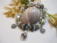 Black Diamond Bridal Pandora Style Bracelet by TheresACharm4That, $52.00