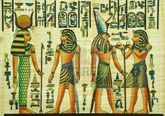 La pittura egizia papiro egiziano con elementi di storia antica Archivio Fotografico - 10678397