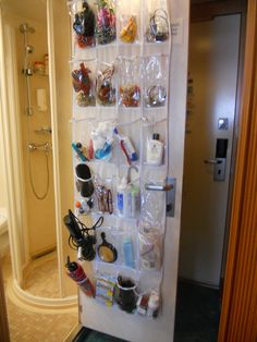 Best cruise idea - take a hanging shoe tree, fill it with your toiletries, jewelry, over the counter medications, etc. Pack it full in your luggage, when you get to your cabin, just hang on the bathroom door. Keeps your counter free of clutter, and I have to believe the room attendant loves not having all that stuff on the counter too!