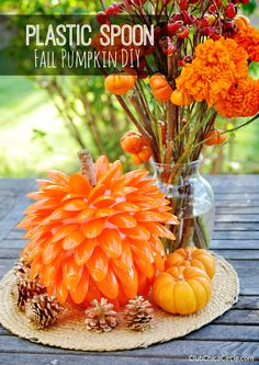 Homemade Fall Pumpkin with Plastic Spoons DIY by Club Chica Circle.