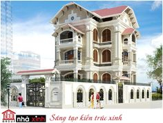 Mẫu biệt thự cổ điển pháp đẹp với thiết kế mái dốc, 4 tầng, 4 mặt tiền của nhà Anh Hùng - Hà Tĩnh