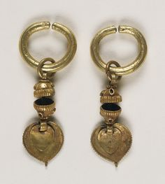 Pair of Earrings Korea, Three Kingdoms period, Old Silla kingdom (57 B.C.-A.D. 668), 5th-7th century Jewelry and Adornments; earrings Hammered, cut, soldered, and riveted gold with twisted gold wire