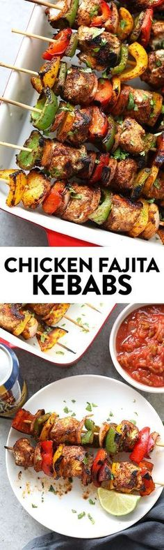 Grilling season is upon us and you need these Grilled Chicken Fajita Kebabs in your life. They're perfect for Memorial Day, of July, or weeknight family dinner. dinner mexican Grilled Chicken Fajita Kebabs in Under 30 Minutes Grilling Recipes, Cooking Recipes, Healthy Recipes, Mexican Food Recipes, Dinner Recipes, Grilled Dinner Ideas, Memorial Day Foods, Kebab, Mets
