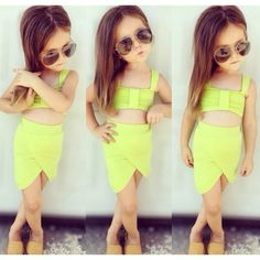 Fun two piece crop top and asymmetrical skirt set.