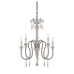 Savoy House Ashland 5-Light White Washed Driftwood Chandelier (5-Light White Washed Driftwood Chandelier), Beige Off-White (Metal)