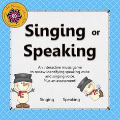 Reinforcing the singing voice vs the speaking voice is now fun! Your elementary music students will love watching the snowman dance when they select the correct answer! You will love the assessment included. Get ready for giggles when they select the the answer!