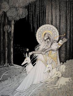 "turecepcja: ""Mixed media drawings by Orphné Achéron "" Art And Illustration, Illustrations, Goddess Art, Fairytale Art, Arte Horror, Aesthetic Art, Dark Art, Art Inspo, Art Reference"