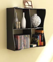 Home Sparkle Wave Black Wood Book Shelf
