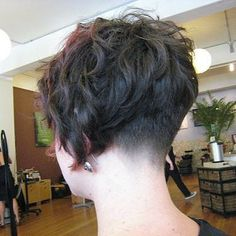 short and curly with buzzed nape