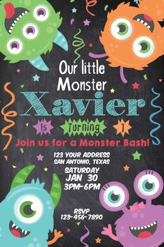 Little Monster Birthday Invitation 4x6  Only $5USD! Also available -Matching Water Labels, Banner, Cupcake Toppers and Candy Bag Toppers!