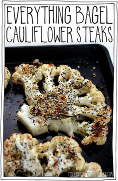 These Everything Bagel Cauliflower Steaks are tender, juicy, a little crisp around the edges, and the everything seasoning is toasted in the oven making this cauliflower irresistible! I could NOT stop eating these!& 25 minutes to make. Whole Food Recipes, Keto Recipes, Vegetarian Recipes, Cooking Recipes, Healthy Recipes, Vegetarian Cauliflower Recipes, Cooking Tips, Freezer Recipes, Freezer Cooking