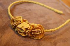 diy flower headband from t shirt scraps