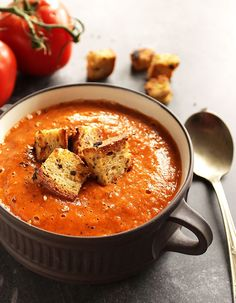 Healing Roasted Tomato and Red Pepper Soup - Bursting with sweet tomatoes and roasted red peppers! This recipe is vegan & gluten free. Perfect for fall!