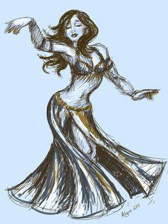 Vintage Belly Dancer Art Print by Abby Asharah Keyes