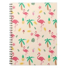 Trendy pink watercolor tropical flamingo floral spiral notebook