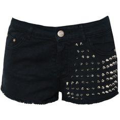 Glamorous Studded Denim Shorts ($22) ❤ liked on Polyvore featuring shorts, bottoms, pants, short, black, black hot pants, black shorts, jean shorts, short shorts and high rise denim shorts