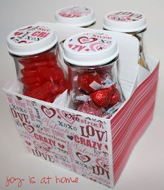 Use Starbucks box and glass jars. Paint box white using acrylic paint. Then decorate box as desired. Soak caps in hot water - peel off sticker. Paint cap white and decorate. Fill jars with candy for awesome gift!!!