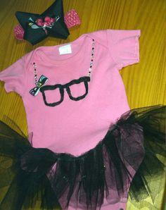 Baby girl nerd glasses tutu onsie by NerdvanaMama on Etsy, $20.00