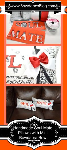 Bridal Shower Gift Idea-- Handmade Soul Mate Pillows with Mini Bowdabra Bow