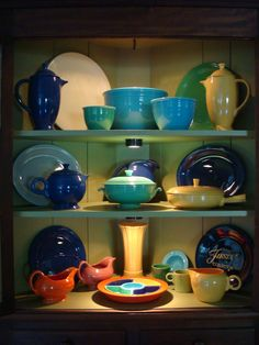 Nice cabinet for vintage Fiestaware, another reminder of Grandma's house.