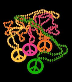 $4.99 - TOYJA673 - Neon Blacklight Reactive Peace Sign Beaded Necklace - 12 Pack