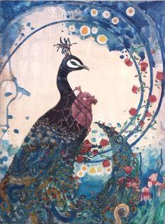 Stef palgen - Paon - aquarelle & acrylique sur toile - Stef Palgen - Septembre 2016 Creations, Painting, Art, Watercolor Peacock, Canvas, September, Paint, Painting Art, Paintings