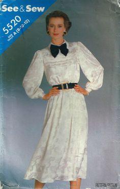 80s Fashion, Vintage Fashion, Fashion Outfits, 1980s Dresses, Taffeta Dress, Satin Blouses, Haute Couture Fashion, Collar Dress, Dress Patterns