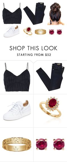 """""""Untitled #1344"""" by shealin ❤ liked on Polyvore featuring River Island, AG Adriano Goldschmied, Giuseppe Zanotti, Effy Jewelry, Gucci and Thomas Sabo"""