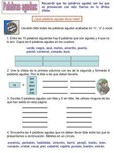 ejemplo de textos para completar con palabras agudas esdrujulas graves para cuarto de primaria - Buscar con Google
