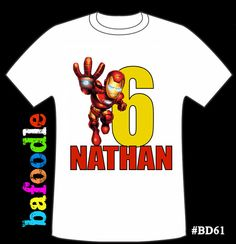 Iron Man Hero personalized age Tshirt birthday shirt by bafoodle, $12.00