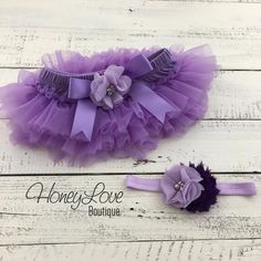 SET Lavender Purple lilac diaper cover ruffle tutu skirt bloomers pearl rhinestone flower headband bow, newborn infant toddler baby girl newborn photo shoot prop birthday cake smash outfit by HoneyLove Boutique
