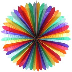 RAINBOW COLOURED TISSUE PAPER FAN BIRTHDAY PARTY SUPPLIES DECORATION