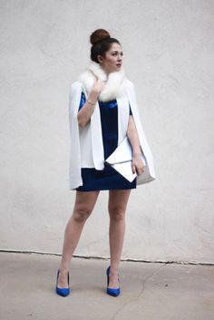 a29f648b4267 A glam blue and white look for holiday party season! Holiday Party Outfit