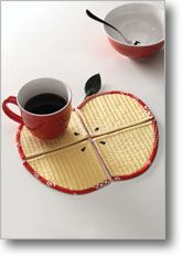 quartered apple #quilted coasters or mug rugs