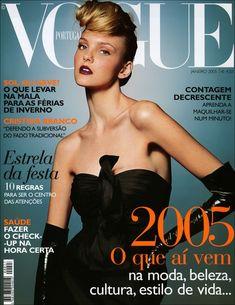 Caroline Trentini, photo by Jacques Desqueker, Vogue Portugal, January 2005 Vogue Covers, Vogue Magazine Covers, Fashion Magazine Cover, Vogue Us, Vogue Korea, Vogue Japan, Vogue Russia, Vogue Portugal, Victor Demarchelier