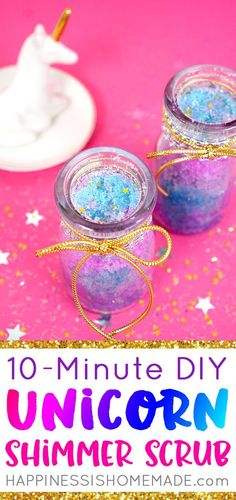 Whip up a batch of DIY Unicorn Sugar Scrub in under 10 minutes with this quick a. Whip up a batch of DIY Unicorn Sugar Scrub in under 10 . Body Scrub Recipe, Diy Body Scrub, Sugar Scrub Recipe, Diy Scrub, Diy Unicorn, Unicorn Crafts, Unicorn Party, Diy For Girls, Gifts For Girls