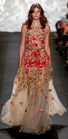 Naeem Khan RTW SS 2015 | floral chiffon dress