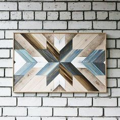 Rustic Headboard Abstract lath Geometric lath Wall wood lath art Lath Wooden panel decorative Reclai art Items similar to Geometric blue wood wall art on Etsy