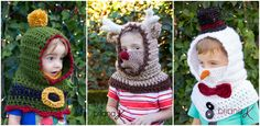 Elf Reindeer Snowman Hooded Cowl Snood Crochet Pattern by Briana K