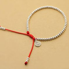 Women Handmade Sterling Silver Beads Bracelet Lucky Red Rope Bangle Jewelry in Jewelry & Watches Fashion Jewelry Charms & Charm Bracelets Custom Jewelry, Diy Jewelry, Beaded Jewelry, Jewelry Making, Beaded Bracelets, Charm Bracelets, Embroidery Bracelets, Jewelry Accessories, Jewelry Necklaces