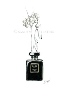 Chanel Coco Noir Illustration by Fashion Illustrator SANDY M print available at www.sandymillustration.com  #chanel #print #art #illustration