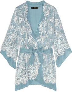 ShopStyle: Jenny Packham Chantilly lace and silk-chiffon robe
