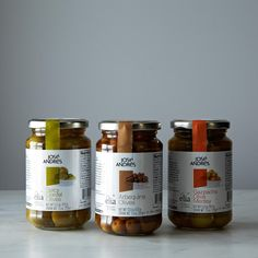 José Andrés Spicy Gordal Olives, Arbequina Olives and Gazpacha Medley Olives, 3 Jars on Provisions by Food52