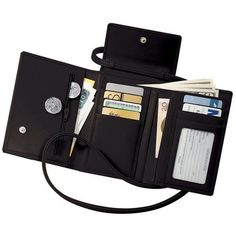 Royce Leather Deluxe Passport Case ($125) ❤ liked on Polyvore featuring bags, luggage, fillers, stuff y black